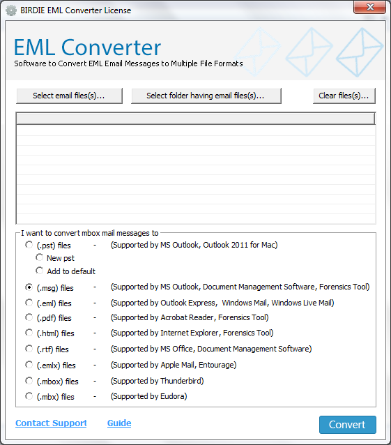 EML Emails Conversion full screenshot