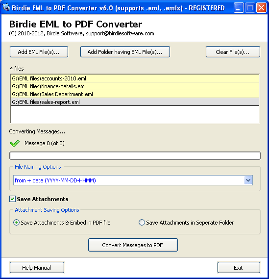 Windows Live Mail to PDF Converter full screenshot