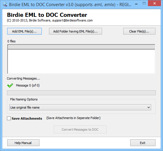 Screenshot of Convert EML to DOC 3.0.1