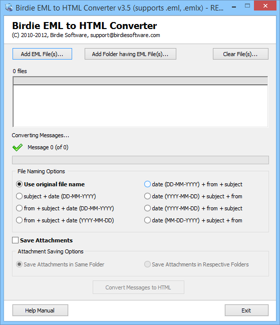 Rapidly Convert EML files to HTML format