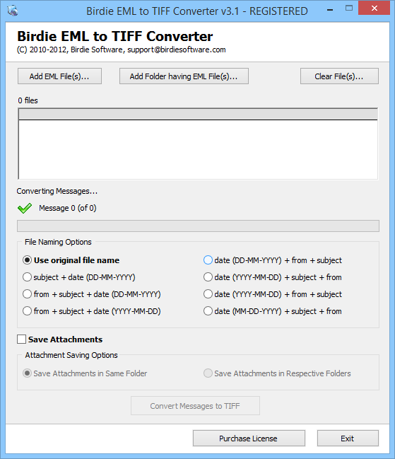 Convert Windows Live Mail EML to TIFF
