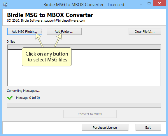 Convert MSG of Microsoft Outlook to MBOX