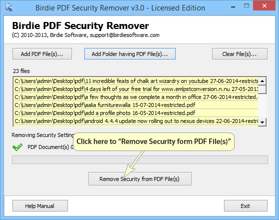 Easily tool to Remove Security from PDF